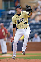 Kevin Jacob #36 of the Georgia Tech Yellow Jackets in action versus the Florida State Seminoles at Durham Bulls Athletic Park May 23, 2009 in Durham, North Carolina.  (Photo by Brian Westerholt / Four Seam Images)