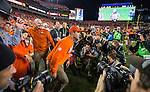 Clemson head coach Dabo Swinney takes the field after his Clemson Tigers defeated the Alabama Crimson Tide for the 2017 College Football Playoff National Championship in Tampa, Florida on January 9, 2017.  Clemson defeated Alabama 35-31. Photo by Mark Wallheiser/UPI