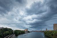 clouds over skyline, BU Bridge, Boston, MA Charles River