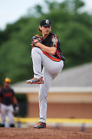Aberdeen IronBirds starting pitcher Hunter Harvey (39) delivers a pitch during a game against the Batavia Muckdogs on July 16, 2016 at Dwyer Stadium in Batavia, New York.  Aberdeen defeated Batavia 4-2.  (Mike Janes/Four Seam Images)