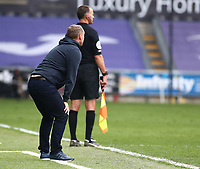 1st May 2021; Liberty Stadium, Swansea, Glamorgan, Wales; English Football League Championship Football, Swansea City versus Derby County; Steve Cooper, Manager of Swansea City anxiously watches the final minutes