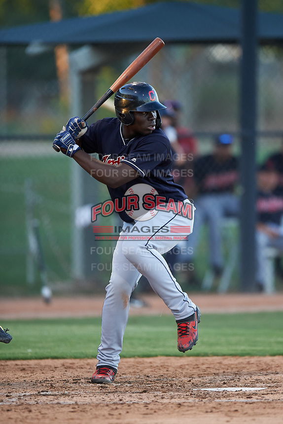 AZL Indians Blue Jhonkensy Noel (44) at bat during an Arizona League game against the AZL White Sox on July 2, 2019 at Camelback Ranch in Glendale, Arizona. The AZL Indians Blue defeated the AZL White Sox 10-8. (Zachary Lucy/Four Seam Images)