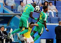 SAMARA - RUSIA, 28-06-2018: Cheikhou KOUYATE (Izq) y Keita BALDE (Der) jugadores de Senegal disputan el balón con Radamel FALCAO (C) jugador de Colombia durante partido de la primera fase, Grupo H, por la Copa Mundial de la FIFA Rusia 2018 jugado en el estadio Samara Arena en Samara, Rusia. /  Cheikhou KOUYATE (L) and Keita BALDE (R) players of Senegal fight the ball with Radamel FALCAO (C) player of Colombia during match of the first phase, Group H, for the FIFA World Cup Russia 2018 played at Samara Arena stadium in Samara, Russia. Photo: VizzorImage / Julian Medina / Cont