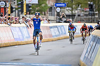 Filippo Baroncini (ITA/Colpack Ballan) outruns a chasing bunch and becomes the newest U23 World Champion<br /> <br /> U23 - Road Race (WC)<br /> race from Antwerp to Leuven (161.1km)<br /> <br /> UCI Road World Championships - Flanders Belgium 2021<br /> <br /> ©kramon