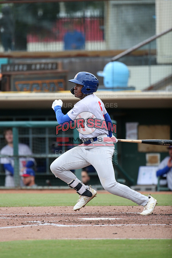Jameson Hannah (5) of the Stockton Ports bats against the Inland Empire 66ers at San Manuel Stadium on May 26, 2019 in San Bernardino, California. (Larry Goren/Four Seam Images)