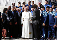 Pope Francis poses with a group of Italian and Argentine boxers at the end of the weekly general audience in St. Peter's Square at the Vatican City, October 16, 2019. Third from left, former Italian boxer Giovanni Benvenuti, also known as Nino, gold medal at Rome's Olympic Games in 1960.<br /> UPDATE IMAGES PRESS/Riccardo De Luca<br /> <br /> STRICTLY ONLY FOR EDITORIAL USE