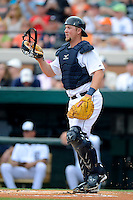 Detroit Tigers catcher Bryan Holaday #50 during a Spring Training game against the New York Mets at Joker Marchant Stadium on March 11, 2013 in Lakeland, Florida.  New York defeated Detroit 11-0.  (Mike Janes/Four Seam Images)