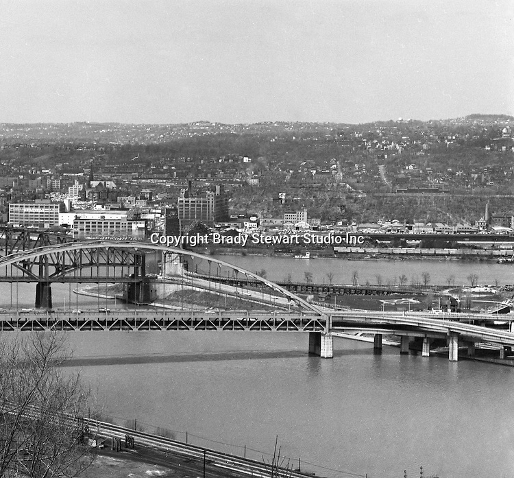 Pittsburgh PA:  View of the Point bridges, Fort Pitt, Point, and Manchester.