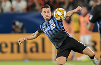 CARSON, CA - SEPTEMBER 21: Daniel Lovitz #3 of the Montreal Impact keeps his eye on the ball during a game between Montreal Impact and Los Angeles Galaxy at Dignity Health Sports Park on September 21, 2019 in Carson, California.