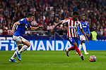 Thomas Lemar of Atletico de Madrid and Ander Capa of Athletic Club de Bilbao during the La Liga match between Atletico de Madrid and Athletic Club de Bilbao at Wanda Metropolitano Stadium in Madrid, Spain. October 26, 2019. (ALTERPHOTOS/A. Perez Meca)
