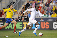Jozy Altidore (17) of the United States (USA) is trailed by John Valencia (19) of Colombia (COL). The men's national teams of the United States (USA) and Colombia (COL) played to a 0-0 tie during an international friendly at PPL Park in Chester, PA, on October 12, 2010.