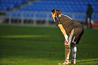 German goalkeeper Nadine Angerer watches action upfield. The USA captured the 2010 Algarve Cup title by defeating Germany 3-2, at Estadio Algarve on March 3, 2010.