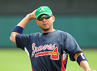 17 March 2009: Omar Infante of the Atlanta Braves prior to a game against the New York Meta at the Braves' Spring Training camp at Disney's Wide World of Sports in Lake Buena Vista, Fla. Photo by:  Tom Priddy/Four Seam Images