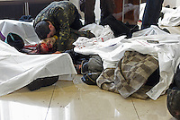 Makeshift clinic and morgue in hotel lobby. Death and injury toll raise every hour on the hour in Maidan square since the violent repression started. Kiev, Ukraine