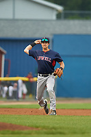 Lowell Spinners third baseman Michael Osinski (29) throws to first base during a game against the Batavia Muckdogs on July 12, 2017 at Dwyer Stadium in Batavia, New York.  Batavia defeated Lowell 7-2.  (Mike Janes/Four Seam Images)