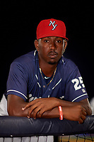 Binghamton Rumble Ponies pitcher Justin Dunn (25) poses for a photo in the dugout before a game against the Portland Sea Dogs on August 31, 2018 at NYSEG Stadium in Binghamton, New York.  Portland defeated Binghamton 4-1.  (Mike Janes/Four Seam Images)