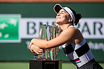 March 17, 2019: Bianca Andreescu (CAN) hugs the trophy after she defeated Angelique Kerber (GER) 6-4, 3-6, 6-4 in the finals of the BNP Paribas Open at the Indian Wells Tennis Garden in Indian Wells, California. ©Mal Taam/TennisClix/CSM