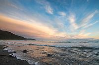 Beach waves along the Gulf of Alaska, Pacific ocean coast, Glacier Bay National Park, Southeast, Alaska