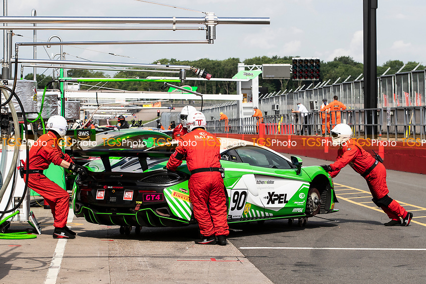 The pit crew push Jack Brown & Ashley Marshall, McLaren 570S GT4, Bale Motorsport into position prior to warm up during the British GT & F3 Championship on 11th July 2021