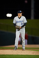 West Michigan Whitecaps relief pitcher Tom De Blok (33) gets ready to deliver a pitch during a game against the Peoria Chiefs on May 8, 2017 at Dozer Park in Peoria, Illinois.  West Michigan defeated Peoria 7-2.  (Mike Janes/Four Seam Images)