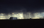Texas Storm, Black CLouds over Truck, Black Rain Cloud over Truck with sunlight in background