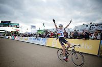 U23 race winner Wout Van Aert (BEL/Vastgoedservice-Golden Palace) celebrating coming in<br /> <br /> GP Zonhoven 2014