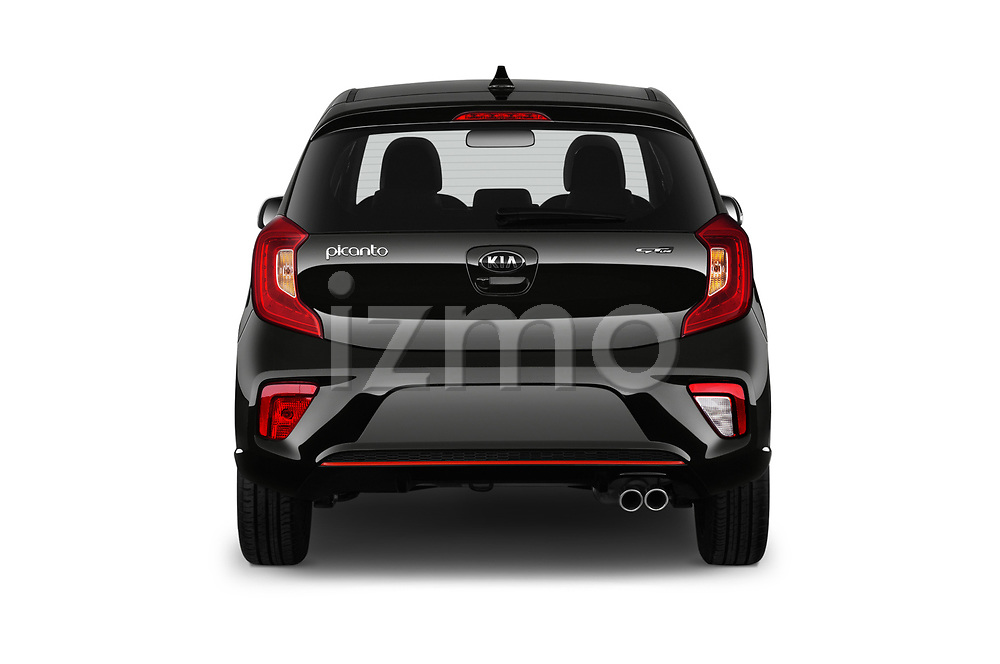 Straight rear view of a 2019 KIA Picanto GT Line 5 Door Hatchback stock images