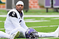 TCU quarterback Trevone Boykin (2) warms up before an NCAA football game, Saturday, October 11, 2014 in Waco, Tex. Baylor defeated TCU 61-58 to remain undefeated in BIG 12 conference. (Mo Khursheed/TFV Media via AP Images)