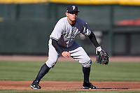Scranton Wilkes-Barre Yankees third baseman Brandon Laird #10 in the field during a game against the Rochester Red Wings at Frontier Field on April 9, 2011 in Rochester, New York.  Rochester defeated Scranton 7-6 in twelve innings.  Photo By Mike Janes/Four Seam Images