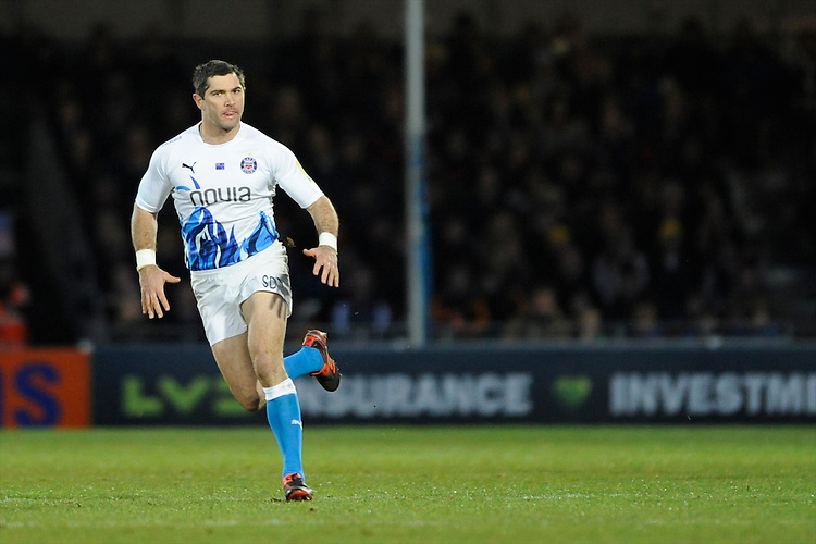 Stephen Donald of Bath Rugby during the LV= Cup match between Exeter Chiefs and Bath Rugby at Sandy Park Stadium on Sunday 5th February 2012 (Photo by Rob Munro)