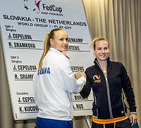 Bratislava, Slovenia, April 21, 2017,  FedCup: Slovakia-Netherlands, Draw ceremony, second match sunday Sramkova vs Hogenkamp (R)<br /> Photo: Tennisimages/Henk Koster