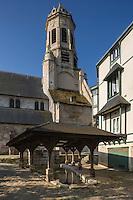 France, Calvados (14), Côte Fleurie, Honfleur,  Fontaines et le lavoir Saint-Léonard, l'église Saint-Léonard  //   France, Calvados, Côte Fleurie, Honfleur,open-air wash house (lavoir) and St Léonard churches