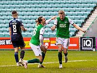 20th February 2021; Easter Road, Edinburgh, Scotland; Scottish Premiership Football, Hibernian versus Hamilton Academical; Josh Doig of Hibernian celebrates after scoring hibs second goal