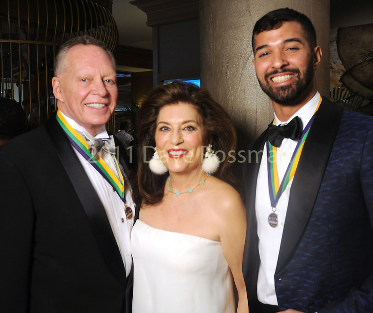 """From left: Richard Flowers, Dancie Ware and Angel Rios at the San Luis Salute """"Hollywood Dinner Club"""" in Galveston Friday Feb. 09,2018. (Dave Rossman Photo)"""