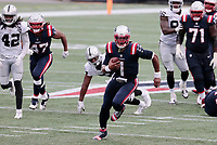 27th September 2020, Foxborough, New England, USA;  New England Patriots quarterback Cam Newton (1) takes off on a keeper during the game between the New England Patriots and the Las Vegas Raiders