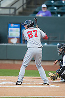 John Wooten (27) of the Potomac Nationals at bat against the Winston-Salem Dash at BB&T Ballpark on April 30, 2015 in Winston-Salem, North Carolina.  The Nationals defeated the Dash 5-4..  (Brian Westerholt/Four Seam Images)