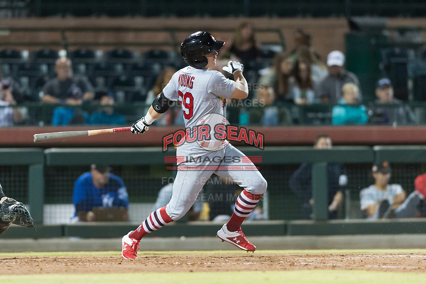 Surprise Saguaros second baseman Andy Young (29), of the St. Louis Cardinals organization, follows through on his swing during an Arizona Fall League game against the Scottsdale Scorpions at Scottsdale Stadium on October 15, 2018 in Scottsdale, Arizona. Surprise defeated Scottsdale 2-0. (Zachary Lucy/Four Seam Images)