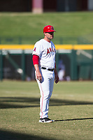 Mesa Solar Sox manager Lou Marson (4), of the Los Angeles Angels organization, during an Arizona Fall League game against the Peoria Javelinas at Sloan Park on October 24, 2018 in Mesa, Arizona. Mesa defeated Peoria 4-3. (Zachary Lucy/Four Seam Images)