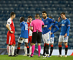 18.3.2021 Rangers v Slavia Prague: Connor Goldson explains the situation with Ondrej Kudela to the referee but both are yellow carded