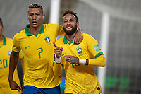 13th October 2020; National Stadium of Peru, Lima, Peru; FIFA World Cup 2022 qualifying; Peru versus Brazil; Neymar of Brazil celebrates his penalty goal with Richarlison in the 28th minute 1-1
