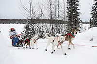 Sunday February 28, 2010   Meredith Mapes on the trail just prior to finishing the 2010 Jr. Iditarod in 4t place .  Willow AK