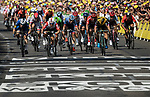 Caleb Ewan (AUS) Lotto-Soudal outsprints Elia Viviani (ITA) Deceuninck-Quick Step and Dylan Groenewegen (NED) Team Jumbo-Visma to win Stage 16 of the 2019 Tour de France running 177km from Nimes to Nimes, France. 23rd July 2019.<br /> Picture: ASO/Alex Broadway   Cyclefile<br /> All photos usage must carry mandatory copyright credit (© Cyclefile   ASO/Alex Broadway)
