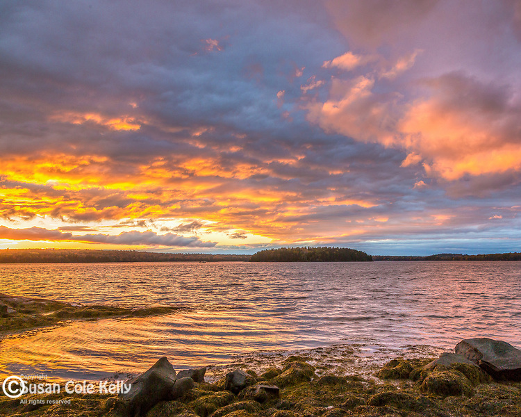 A fiery sunset in Hancock County, Maine, USA