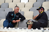 Black Caps selector Gavin Larsen talks to Firebirds assistant coach Lance Dry during day two of the Plunket Shield men's cricket match between Wellington Firebirds and Northern Districts at the Basin Reserve in Wellington, New Zealand on Sunday, 28 March 2021. Photo: Dave Lintott / lintottphoto.co.nz