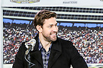 John Krashinski does an interview for his new movie, 13 Hours: The Secret Soldiers of Benghazi, before the NASCAR AAA Texas 500 race at Texas Motor Speedway in Fort Worth,Texas.