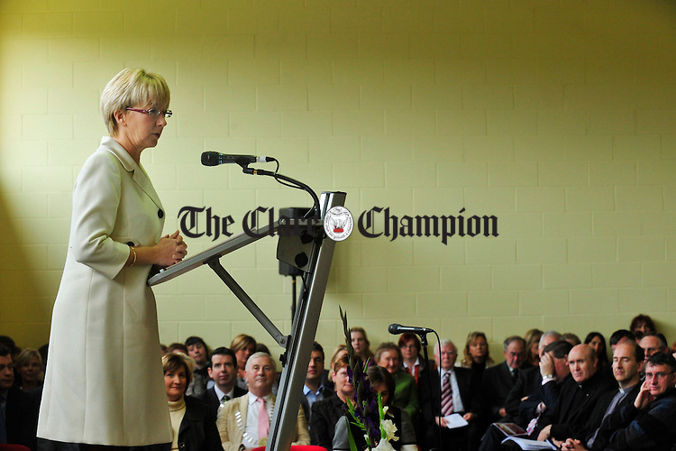 Mary Hanifin addresses guests at the official opening of the new Ballina National School on Friday. Photograph by Declan Monaghan
