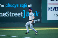 Tri-City Dust Devils left fielder Tyler Benson (3) pursues a fly ball during a Northwest League game against the Everett AquaSox at Everett Memorial Stadium on September 3, 2018 in Everett, Washington. The Everett AquaSox defeated the Tri-City Dust Devils by a score of 8-3. (Zachary Lucy/Four Seam Images)