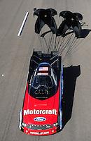Feb. 18, 2012; Chandler, AZ, USA; NHRA funny car driver Bob Tasca III during qualifying for the Arizona Nationals at Firebird International Raceway. Mandatory Credit: Mark J. Rebilas-