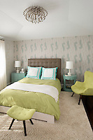 Contemporary bedroom with lime linen