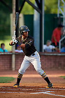 Bristol Pirates designated hitter Mikell Granberry (7) at bat during a game against the Elizabethton Twins on July 28, 2018 at Joe O'Brien Field in Elizabethton, Tennessee.  Elizabethton defeated Bristol 5-0.  (Mike Janes/Four Seam Images)